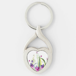 Summer flowers keep our love key ring
