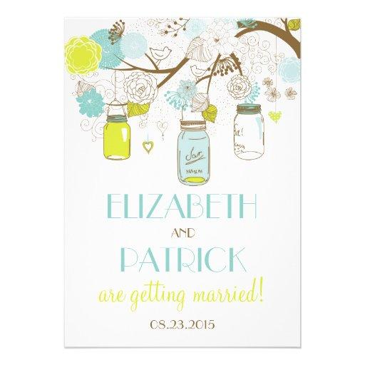 Summer Flowers & Mason Jars Wedding Invitation
