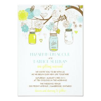"Summer Flowers & Mason Jars Wedding Invitation 5"" X 7"" Invitation Card"