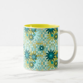 Summer Flowers on Retro 11 oz Two-Tone Mug