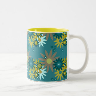 Summer Flowers on Solid 11 oz Two-Tone Mug