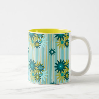 Summer Flowers on Stripes 11 oz Two-Tone Mug