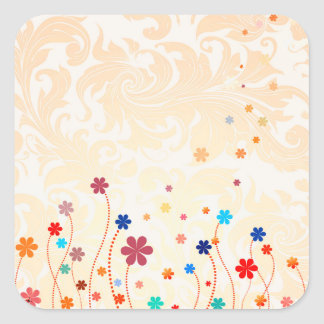 Summer Flowers Square Sticker