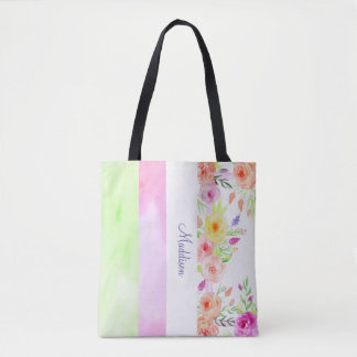 summer flowers watercolor white pink green modern tote bag
