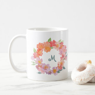 Summer Flowers | Watercolor Wreath with Monogram Coffee Mug