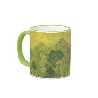 Summer Forest, wool painting, trees green & yellow Ringer Mug