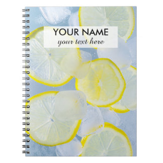 summer fresh lemon ice soda drink photograph spiral notebook
