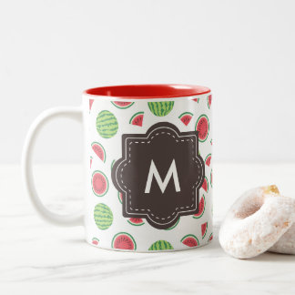 Summer Fresh Watermelon Monogrammed Two-Tone Coffee Mug