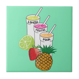 Summer Fruit smoothie Small Square Tile