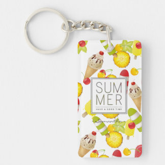 Summer Fruits and Ice-Cream Fun Double-Sided Rectangular Acrylic Key Ring