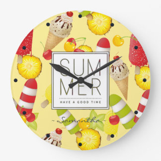 Summer Fruits and Ice-Cream Fun Large Clock