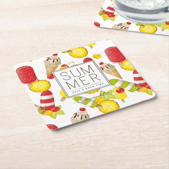 Summer Fruits and Ice-Cream Fun Square Paper Coaster