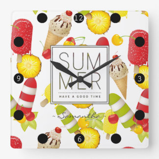 Summer Fruits and Ice-Cream Fun Square Wall Clock