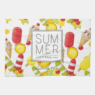 Summer Fruits and Ice-Cream Fun Tea Towel