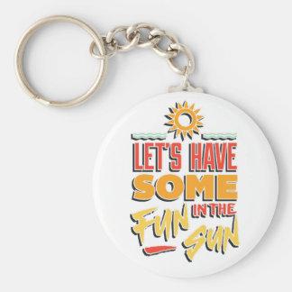 summer fun basic round button key ring