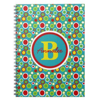 Summer Fun Bubble Dots Monogram Notebooks