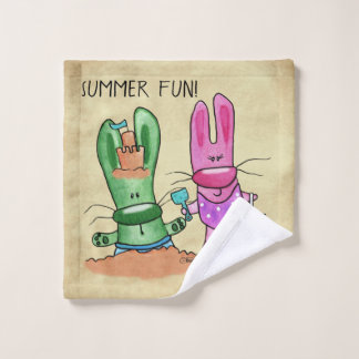 Summer Fun-Bunnies at Beach Wash Cloth