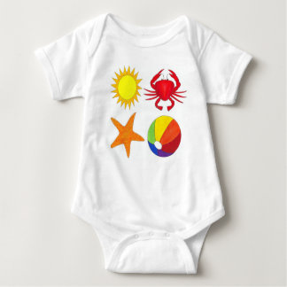 Summer Fun Crab Starfish Sunshine Beachball Beach Baby Bodysuit