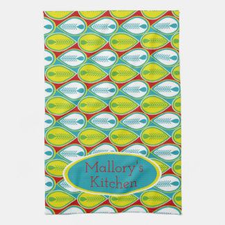 Summer Fun Feathers Personalized Tea Towel