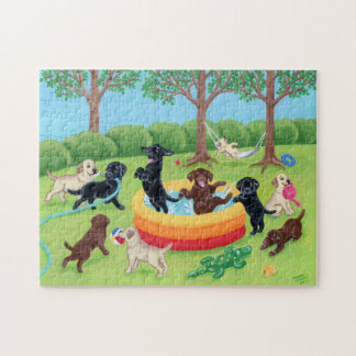 Summer Fun Labradors Painting Jigsaw Puzzle