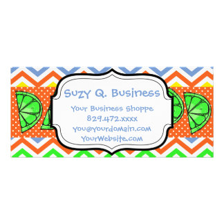 Summer Fun Limes Chevron Polka Dot Business Cards Personalised Rack Card