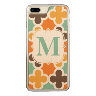 Summer Fun Monogram Retro Quatrefoil Pattern Carved iPhone 8 Plus/7 Plus Case