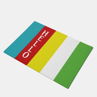 Summer Fun Palette Stripe Personalized Hello Doormat