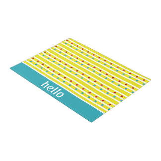 Summer Fun Polka Dots and Stripes Personalized Doormat