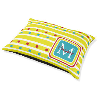 Summer Fun Polka Dots and Stripes Pet Bed
