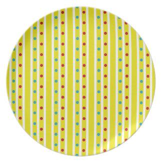 Summer Fun Polka Dots and Stripes Plate