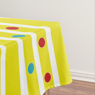 Summer Fun Polka Dots and Stripes Tablecloth