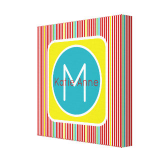 Summer Fun Thin Stripes Monogram Canvas Print