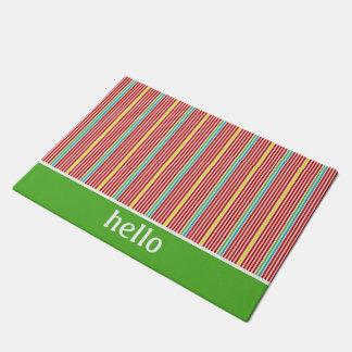 Summer Fun Thin Stripes Personalized Doormat
