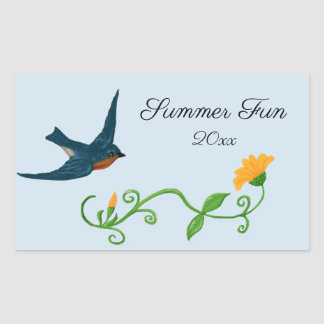Summer Fun with Bluebird and Flower Scrapbook Rectangular Sticker