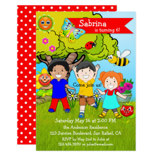 Summer Garden Children Birthday Party Invitation