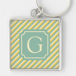 Summer Garden Stripes Monogram Key Ring