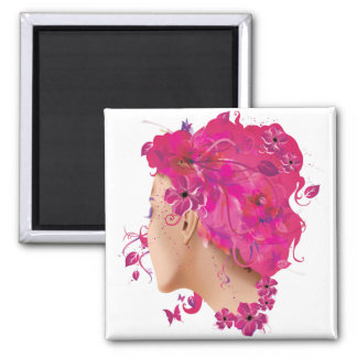 Summer Girl Square Magnet