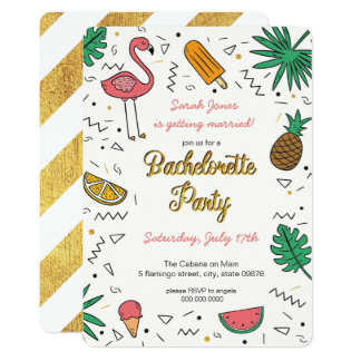 Summer Gold Flamingo Pineapple Bachelorette Party Card