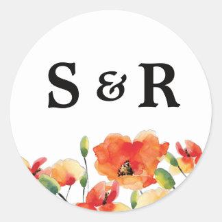 Summer Golden Poppy Wedding Classic Round Sticker