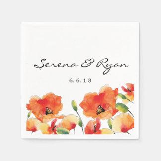 Summer Golden Poppy Wedding Paper Serviettes