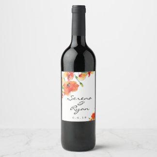Summer Golden Poppy Wedding Wine Label
