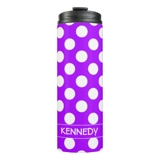 Summer Grape and White Polka Dot Personalized Thermal Tumbler