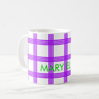 Summer Grape Four Stripe Plaid Personalized Coffee Mug
