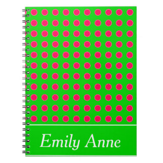 Summer Green and Pink Polka Dot Personalized Spiral Notebook