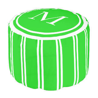 Summer Green and White Double Stripe Monogram Pouf