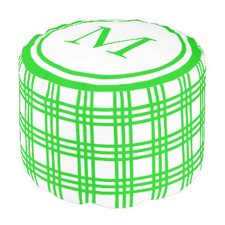 Summer Green and White Plaid Stripe Monogram Pouf