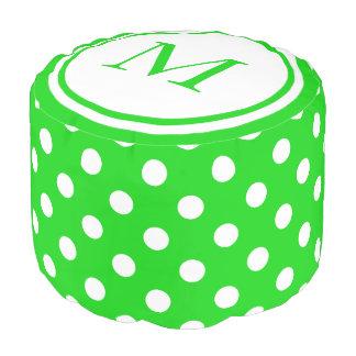 Summer Green and White Polka Dot Monogram Pouf