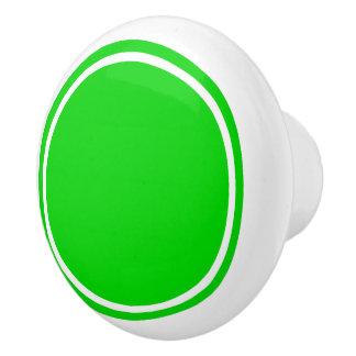 Summer Green Dot on White Ceramic Knob