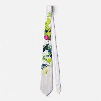 Summer Green Floral Print Tie