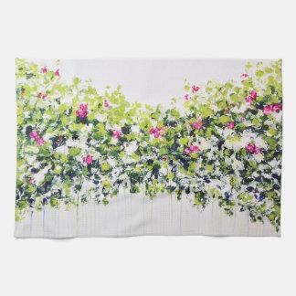 Summer Green Floral Tea Towel